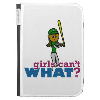 Girl Softball Player in Green Kindle Folio Cases