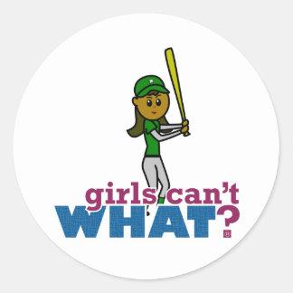 Girl Softball Player in Green Classic Round Sticker