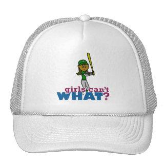 Girl Softball Player in Green Mesh Hats