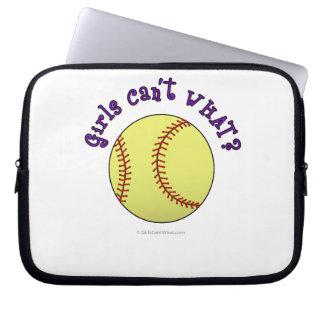 Girl Softball-Purple Text Laptop Sleeves