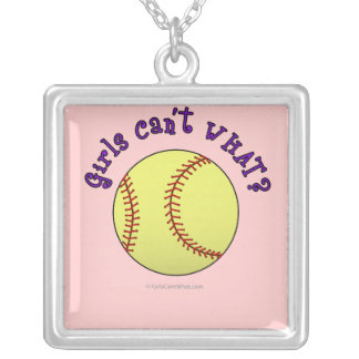 Girl Softball-Purple Text Silver Plated Necklace