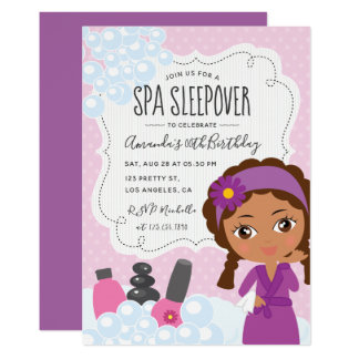 Girl Spa Sleepover Birthday Party Invitation