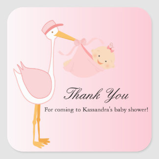 Girl Special Delivery Stork Baby Shower Sticker