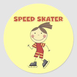 Girl Speed Skater Tshirts and Gifts Round Stickers