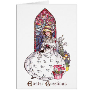 Girl, Stained Glass Window, Tulips Vintage Easter Card