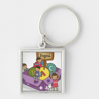 Girl standing with arms raised and boys sitting Silver-Colored square key ring