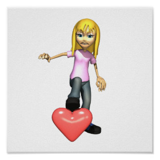 girl stepping on heart poster