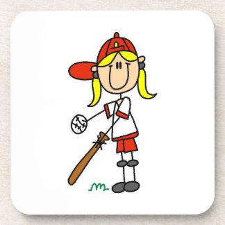 Girl Stick Figure Baseball Up At Bat Coaster