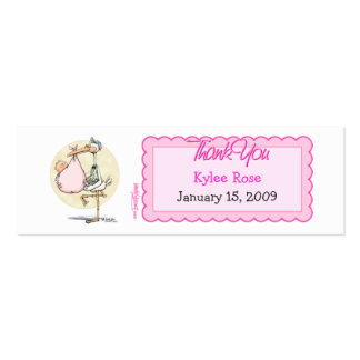 Girl Stork Thanks Favor Tag Double-Sided Mini Business Cards (Pack Of 20)