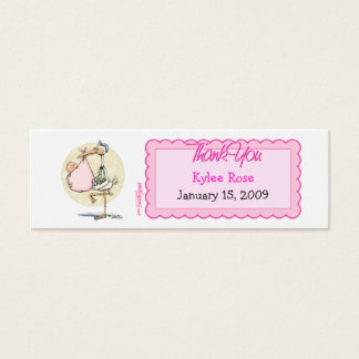 Girl Stork Thanks Favor Tag Mini Business Card