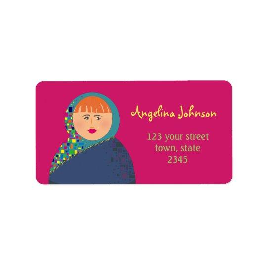 Girl Stylish Deep Rose Background Address Label