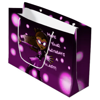 Girl Super Hero Birthday Gift Bag - Large, Glossy Large Gift Bag