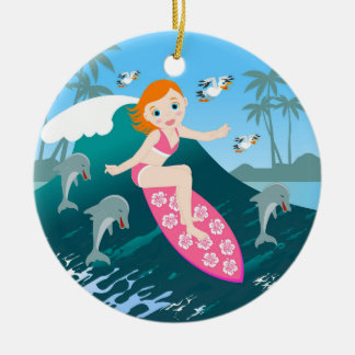 Girl Surfing Big Wave with Dolphins Christmas Ornament