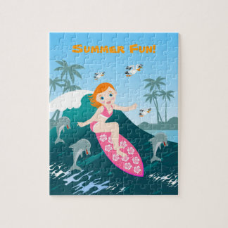 Girl Surfing Big Wave with Dolphins Jigsaw Puzzle