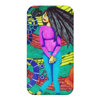 Girl Surrounded By Musical Notes iPhone 4 Cases