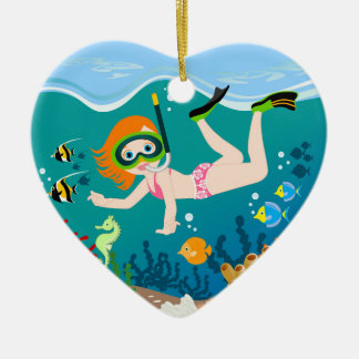 Girl swimmer has a birthday party ceramic heart decoration
