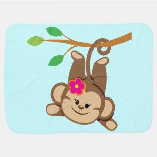 Girl Swinging Monkey Baby Blankets