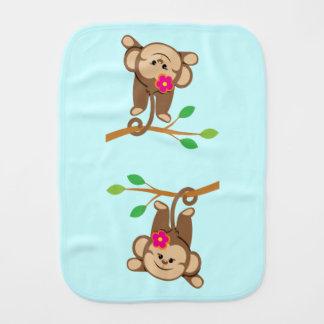 Girl Swinging Monkey Baby Burp Cloth
