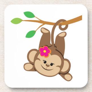 Girl Swinging Monkey Beverage Coasters