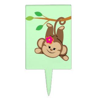 Girl Swinging Monkey Cake Topper
