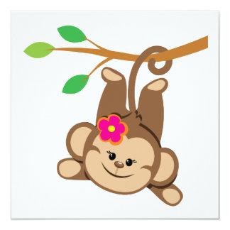 Girl Swinging Monkey Custom Invite