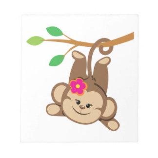Girl Swinging Monkey Memo Note Pad