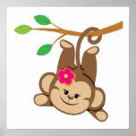 Girl Swinging Monkey Poster