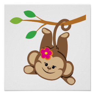 Girl Swinging Monkey Poster