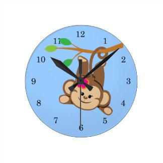 Girl Swinging Monkey Round Clock