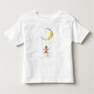 Girl swinging on a rope hanging from crescent moon toddler T-Shirt