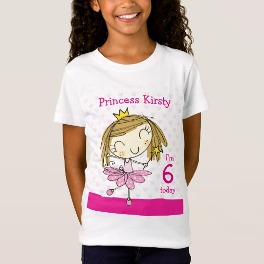 GIRL T-SHIRT Age 6 cute pink princess 6th Birthday