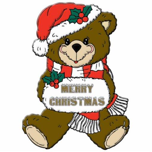 Girl Teddy Bear Christmas Ornament Photo Cutout