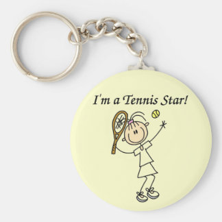 Girl Tennis Star T-shirts and Gifts Basic Round Button Key Ring