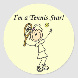 Girl Tennis Star T-shirts and Gifts Round Sticker