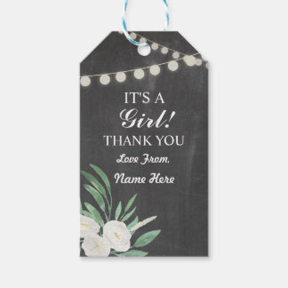 Girl Thank You Baby Shower Chalk Floral Tags