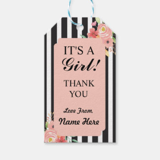 Girl Thank You Baby Shower Peach Coral Stripe Tags