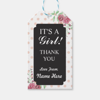 Girl Thank You Baby Shower Polka Dots Chalk Tags