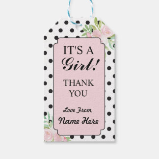 Girl Thank You Baby Shower Polka Dots Floral Tags