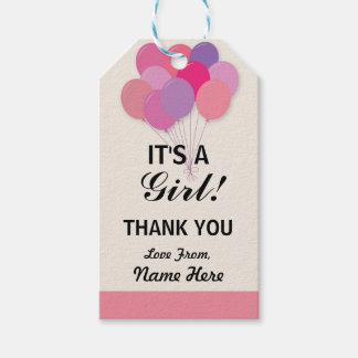 Girl Thank You Baby Shower Pop Balloons Pink Tags