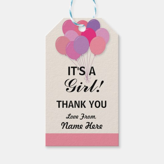 Girl Thank You Baby Shower Pop Balloons Pink