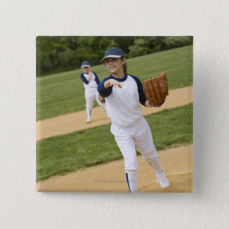 Girl throwing in little league softball game 15 cm square badge