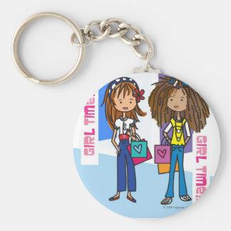 Girl Time Basic Round Button Key Ring