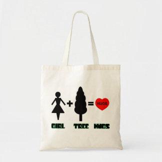 Girl+Tree=Hugs Budget Tote Bag