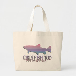 GIRL TROUT FISHING LARGE TOTE BAG