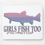 GIRL TROUT FISHING MOUSE PAD