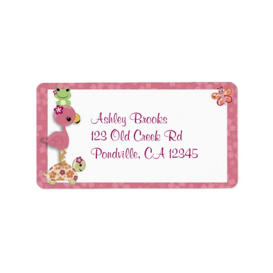 Girl TURTLE Baby Shower Address Label OUP