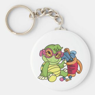 Girl Turtle Golfer Tshirts and Gifts Key Chain