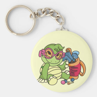 Girl Turtle Golfer Tshirts and Gifts Key Chains