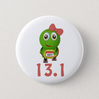 Girl Turtle Runner 13.1 6 Cm Round Badge