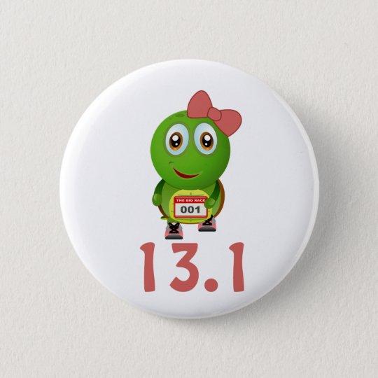 Girl Turtle Runner 13.1 6 Cm Round Badge
